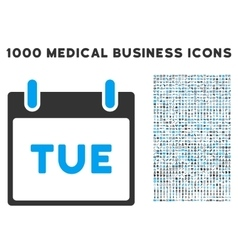 Tuesday calendar page icon with 1000 medical vector