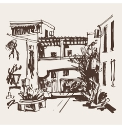 Sketching of street in hotel complex slovenska vector