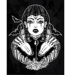 Sexy beautiful vampire girl vector image