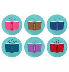 Set of fiction genre icons open books vector