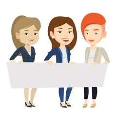 Group of young women holding white blank board vector