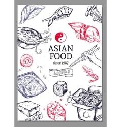 Asian cuisine sketch poster vector