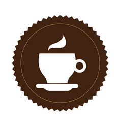 Brown seal sticker with silhouette coffee cup vector
