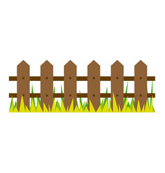 Picture wooden fence and grass design vector