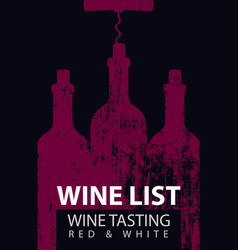 Wine list for tasting with bottles and corkscrew vector