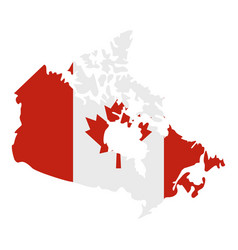 Map of canada in national flag colors icon vector