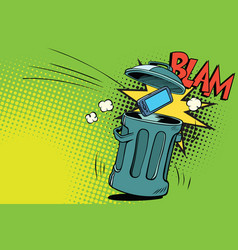Smartphone thrown in the trash vector