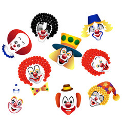 Set of clowns isolated for decoration vector