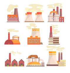 Industrial factory buildings set modern power vector