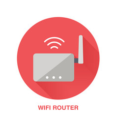 Wifi router flat style icon wireless technology vector
