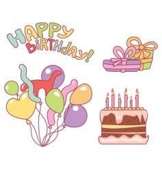 Nice elements for birthday party vector
