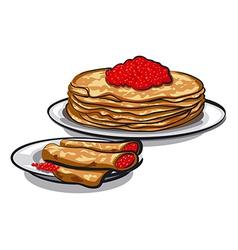 caviar pancakes vector image