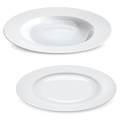 Empty plates isolated on white vector