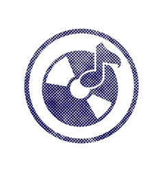 Audio cd icon with halftone dots print texture vector