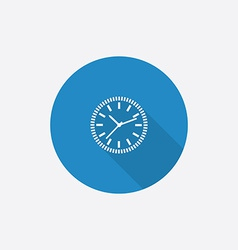Time circle flat blue simple icon with long shadow vector