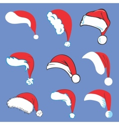 Set of santa hats vector