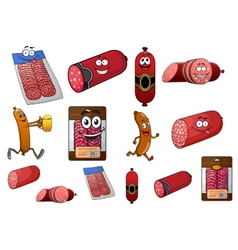 Cartoon wurst sausage and salami characters vector