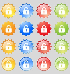Open padlock icon sign set from sixteen vector
