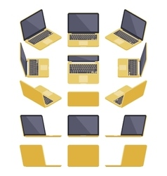 Isometric golden laptop vector