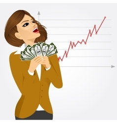 Businesswoman enjoying money vector