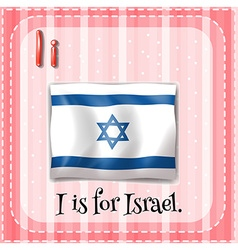 Flashcard letter i is for israel vector