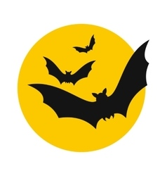 Bats fly to the moon icon vector