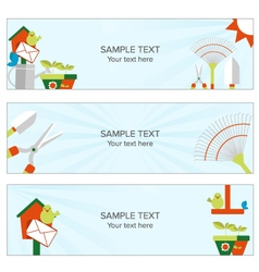 Gardening and cultivating web banner vector