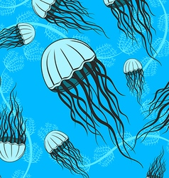 Hand drawn jellyfish seamless pattern vector