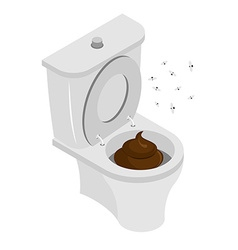 Dirty toilet isolated shit in toilet turd in vector