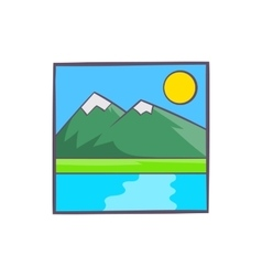 Drawing mountain landscape icon cartoon style vector