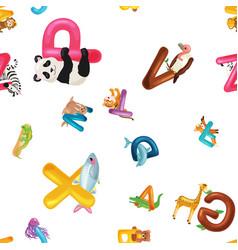 animals alphabet background set of cartoon vector image