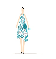 Beautiful woman in blue dress for your design vector image vector image