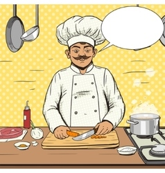 Chef cooks food pop art style vector