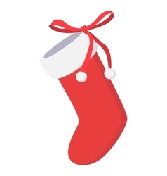 Christmas sock cartoon icon vector