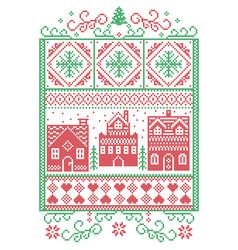 christmas village scandinavian pattern vector image vector image