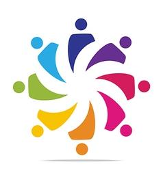 Circle people concept teamwork logo vector