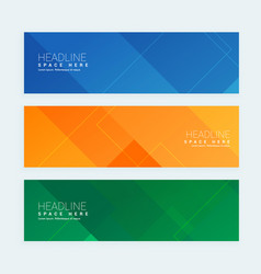 Clean geometrical style minimal banners set with vector