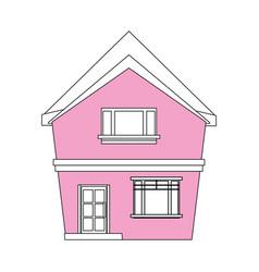 color silhouette cartoon pink facade irregular vector image