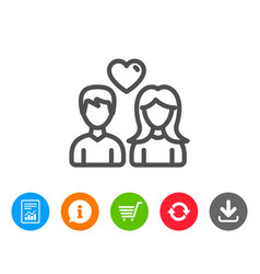 Couple line icon users with heart sign vector