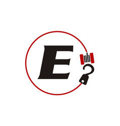 Crane hook towing letter e vector