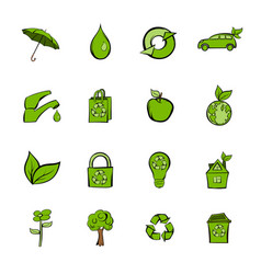 eco icons set cartoon vector image vector image