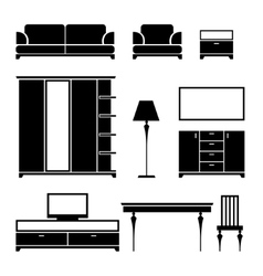 Furniture black silhouette on a white background vector image