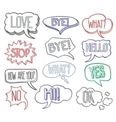 Hand drawn sketch speech bubbles clouds with vector image vector image