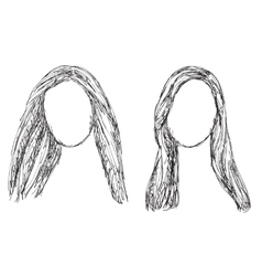 Hand drawn wig Hair sketch vector image vector image