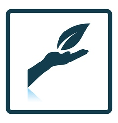 Hand holding leaf icon vector image vector image