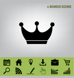 King crown sign black icon at gray vector