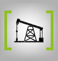 Oil drilling rig sign black scribble icon vector