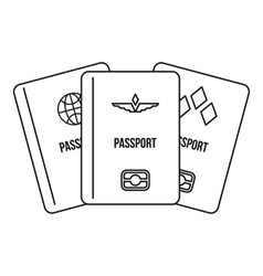 Passports icon outline style vector