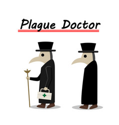 Plague doctor side view in flat vector