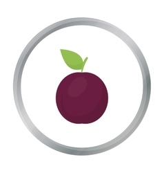 Plum icon cartoon singe fruit icon vector